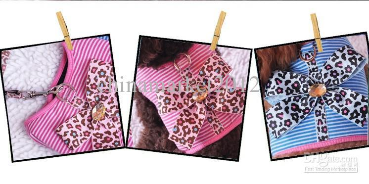 Gratis verzending nieuwe stijl huisdier hond puppy harnas leiband lead lepord met hals open ontwerp bloem roze / blauw / partij