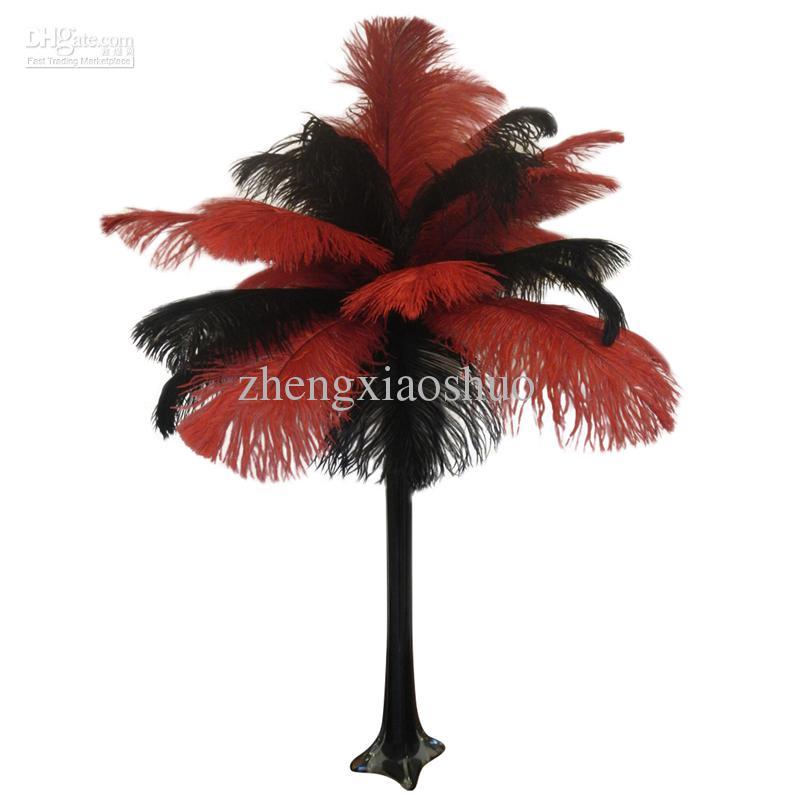 Groothandel 14-16Inch 35-40cm struisvogel veer pluim rood en zwart, tafeldecoratie bruiloft middelpunt decor partijkoevoer