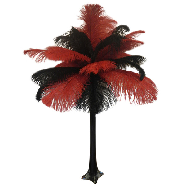 wholesale 14-16inch(35-40cm) Ostrich Feather Plume Red and Black,Table Decoration wedding centerpiece decor party supply