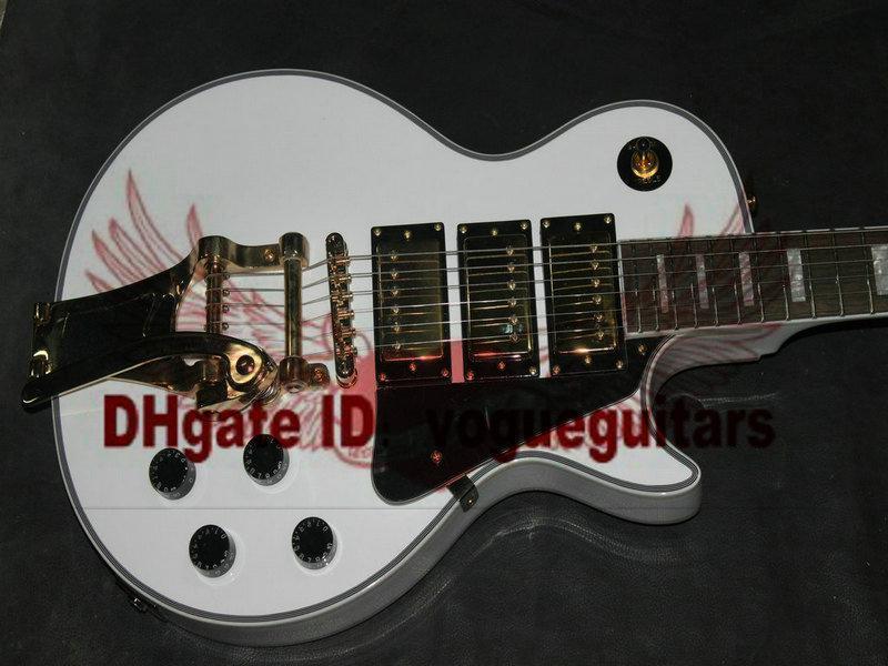 Custom Shop White 3 Pickups Aangepaste elektrische gitaar met bigbys gratis verzending C58