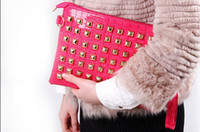 Wholesale Cheap Punk Bags - Cheap Bags Clutch Bags PU Leather Punk Rivets Style 4color 5PCS Lot Free Shipping 0514