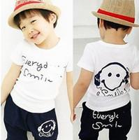 Wholesale Face Clothing - Wholesale - Boys Outfit Kids Set Summer Wear Short Sleeve Set Children Clothing Suit Smiling Face T shirt+Pants