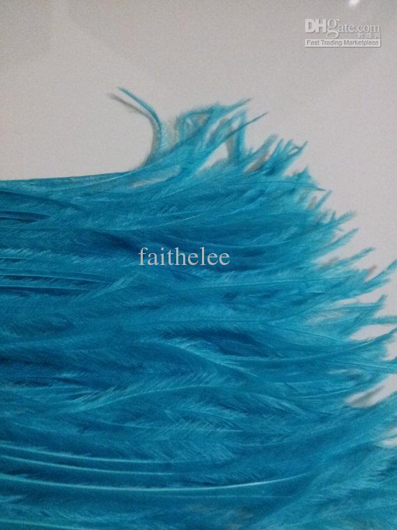 Frete Grátis 20 jardas / lote azul turquesa escuro azul da pena da avestruz guarnição franja no Cetim Header 5