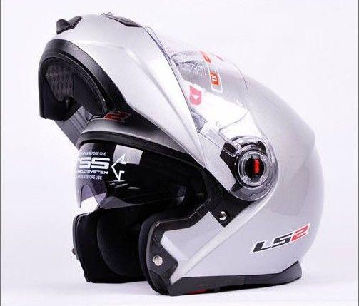 vente en gros LS2 FF386 casque dynamique Silve Full Face armet undrape face Flip Up Dual Shield Sun Visor Moto Helm, lentille transparente