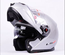 Wholesale Ls2 Visor - wholesale LS2 FF386 helmet Dynamic Silve Full Face armet undrape face Flip Up Dual Shield Sun Visor Motorcycle Helm, Transparent Lens