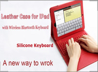 Wholesale Ipad Keyboard Folio Pink - Stand Leather Case With Bluetooth 3.0 Silicone Keyboard For iPad 4th 3rd 2 ipad air
