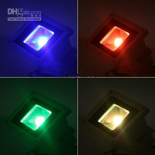 10W للماء الكاشف المناظر الطبيعية مصباح RGB LED الفيضانات الخفيفة في الهواء الطلق الصمام الفيضانات مصباح 110V 85-265V
