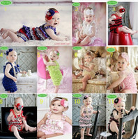 Wholesale Multi Color Petti Rompers - New! 12 Sets Toddler Baby Girl Lace Posh Petti Ruffle Rompers + Headband Infant Child One-Piece TuTu Lace Clothes
