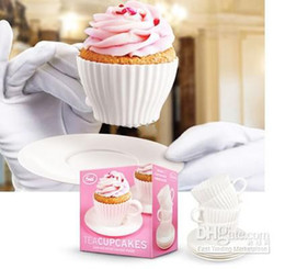 Wholesale Single Cupcakes Boxes - Environmentally friendly 4 Cup 4 Saucers Boxed Silicone Cupcake Molds Baking Cakes Muffin Mould Tea Cup Free Shipping