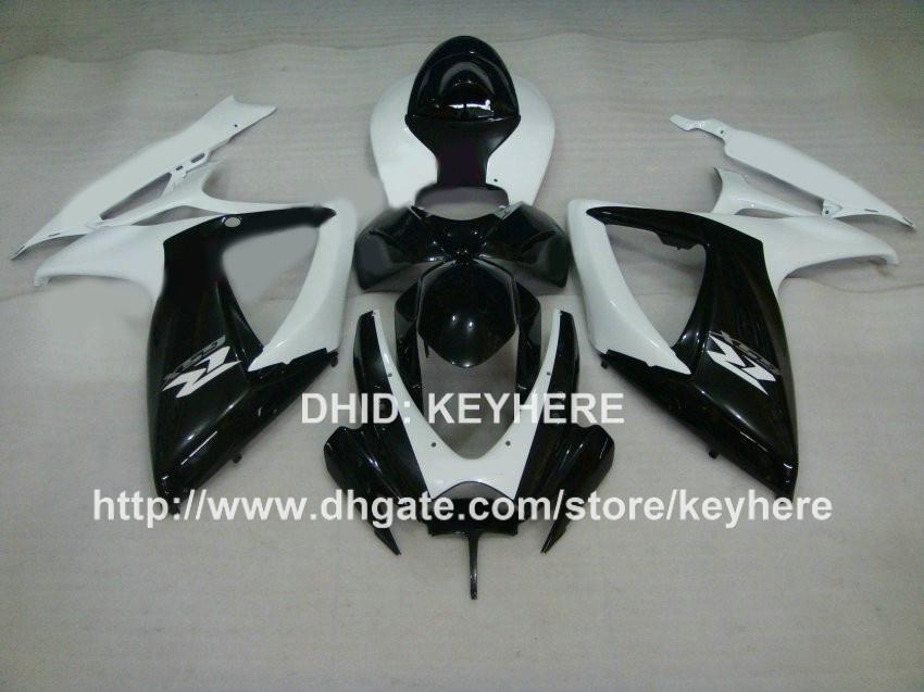 Kit de carenagem de plástico ABS Injecção para SUZUKI GSX-R 600/750 2006 2007 k6 GSXR 600/750 2006 2007 carenagens G4d branco BLACK