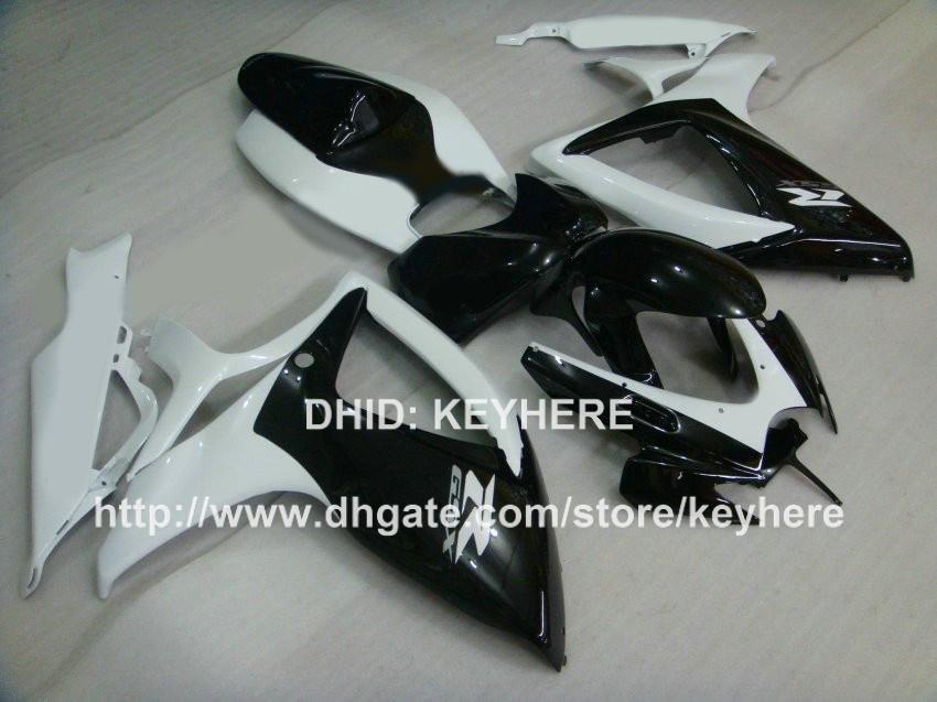 Kit de carénage en plastique ABS Injection pour SUZUKI GSX-R 600/750 2006 2007 k6 GSXR 600/750 2006 2007 carénages G4d blanc Carrosserie de moto NOIR