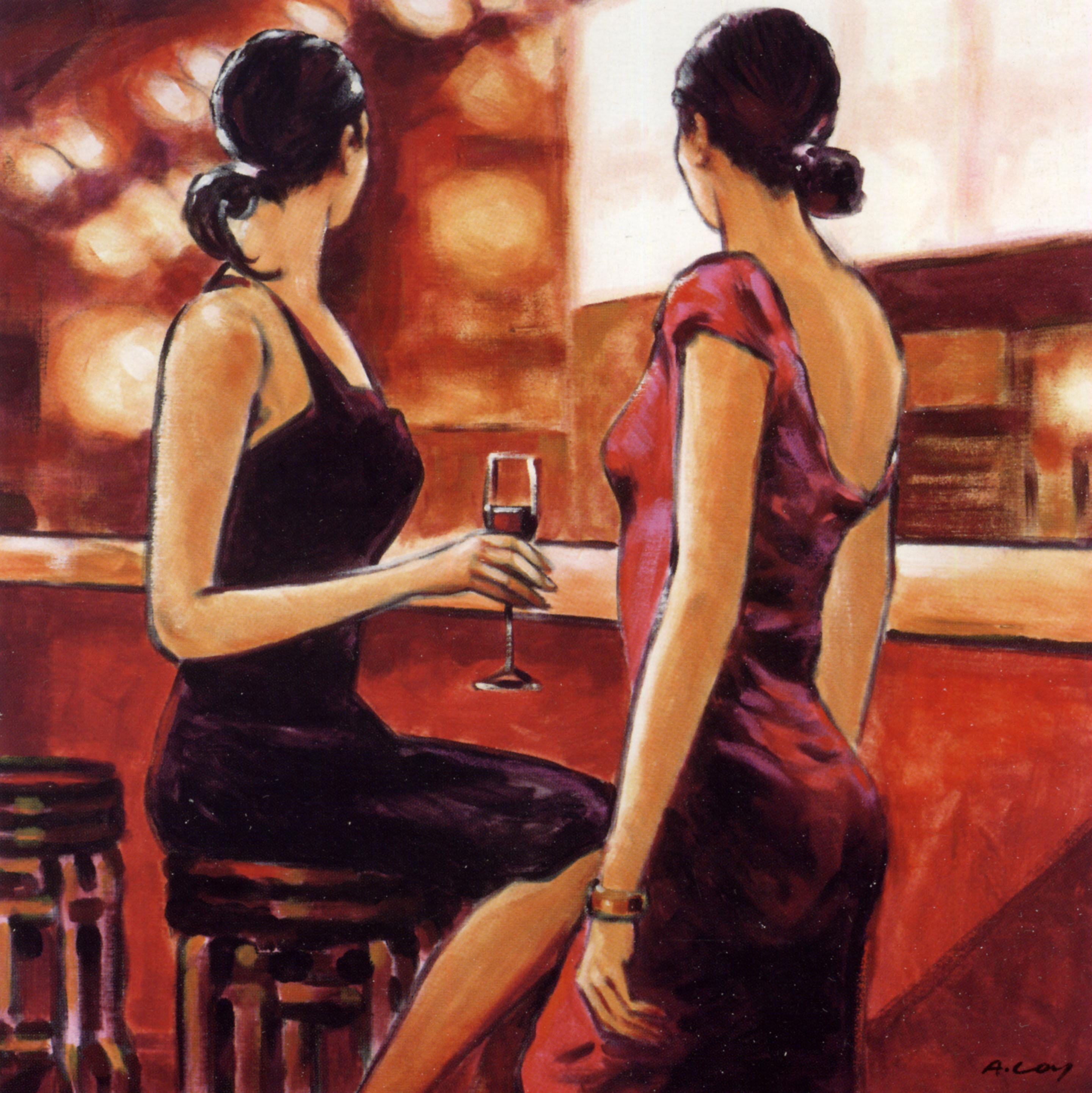 2018 impression hotel art wall women drink toghter having for Painting while drinking wine