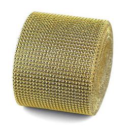 """$enCountryForm.capitalKeyWord Canada - 5 Yard Width 4.75"""" Bendable Diamond Mesh Wrap Roll Gold Sparkle Rhinestone Crystal Ribbon"""