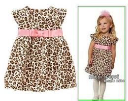 Wholesale Kids Leopard Belt - 2016 new summer Western style children kid pink belt short sleeve leopard one-piece dress girls clothes Casual skirt 4pcs lot