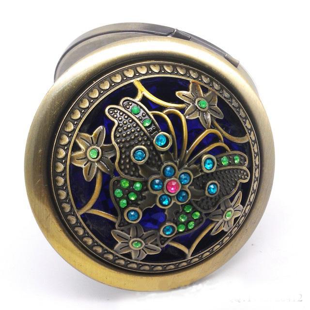 Dia 70mm Rusland Stijl Vintage Cosmetische Spiegel Pocket Ronde Compact Spiegel Rhinestone Bloem Twee-Side Make Up Mirror Lady Gunsten /