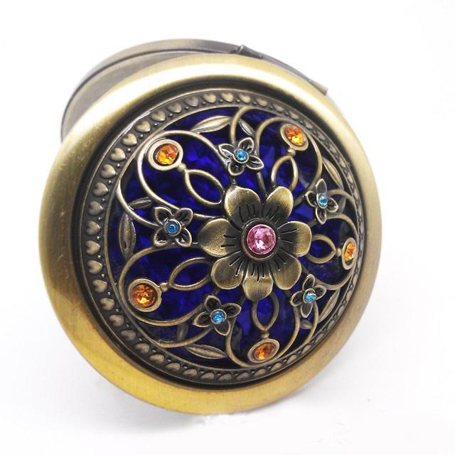 Dia 70 * 15mm Flor Mosaico Clásico Espejo Redondo Canela Bolsillo Espejo Compacto de dos caras Mujeres Herramientas de Maquillaje Favores de regalo de boda 5 unids / lote