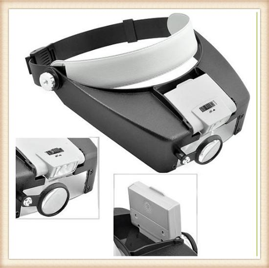 2018 10x Lighted Magnifying Glass Headset Dual Led Head