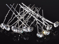 Wholesale Clear Rhinestone Crystal Hair Pin - 200pcs Wedding Bridal Prom Clear Diamante Hair Pins Crystal Hair Jewelry Shiny Hairpins Jewellery Free [HP05*200]