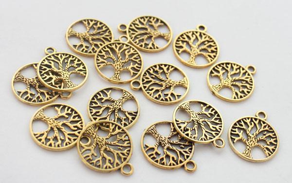 100 stks antiqued gouden metalen leven van boom ronde charme Pendents A12816G voor sieraden maken