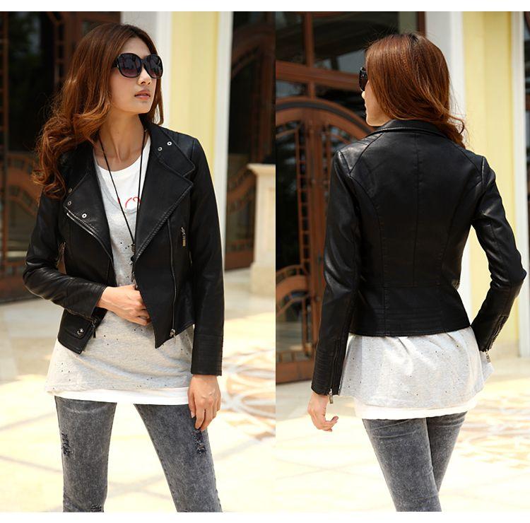 Woman Pu Coat Autumn New Style Slim Fit Short Jacket Long Sleeve ...
