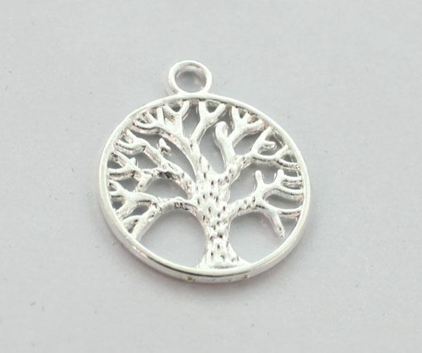 100шт посеребренные жизнь дерево круглый Шарм подвески A12816sp