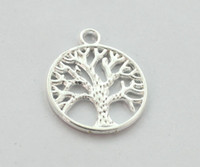 100PCS Silver Plated LIFE OF TREE Round Charm Pendents A1281...