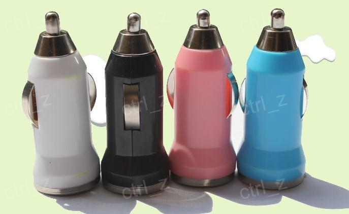Colorful Bullet Mini USB Car Charger Universal Adapter for iphone 5 4 4S 6 Cell Phone PDA MP3 MP4 player mobile i9500 s3 m7 l36h