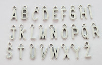 Wholesale Coloured Charms - 78PCS Assorted of Antiqued Silver Colour alphabet letter charms #22929