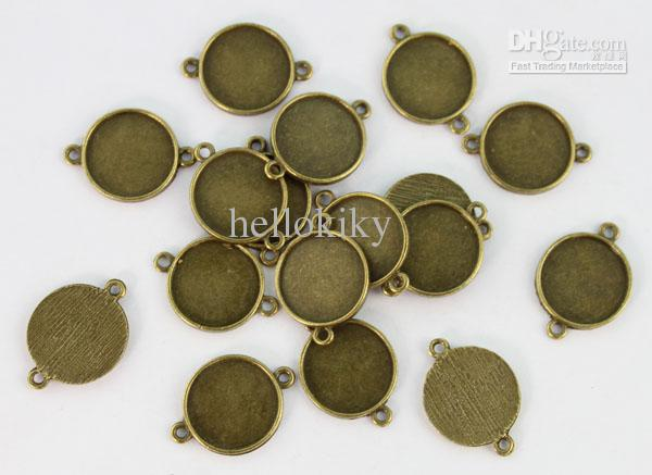 30 stks Antiqued Bronze 18mm Ronde Lege Cabochon Instellingen Links # 22935
