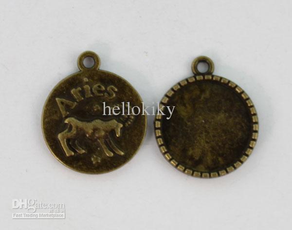 24 stks Antiqued Bronze 20mm Cabochon-instellingen Ram Zodiac Charms # 22943
