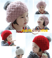 Wholesale Warm Baby Beanie Crochet - Baby hats Pom poms pink knit hat girls boys beanie winter toddler kids boy girl faux warm crochet cap 5M-5years children's