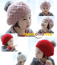 Wholesale Pink Baby Hats - Baby hats Pom poms pink knit hat girls boys beanie winter toddler kids boy girl faux warm crochet cap 5M-5years children's
