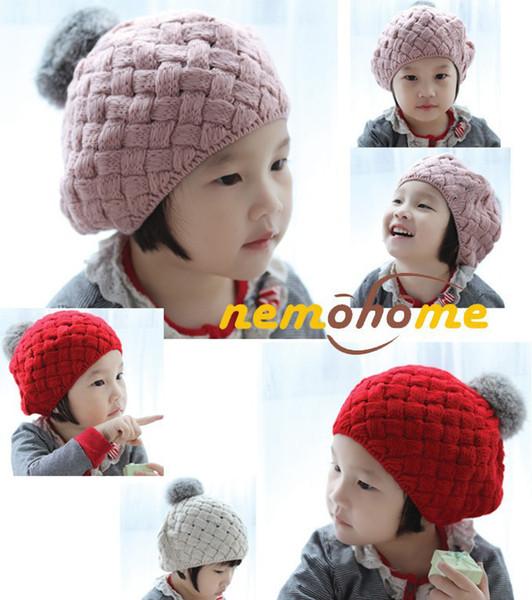 best selling Baby hats Pom poms pink knit hat girls boys beanie winter toddler kids boy girl faux warm crochet cap 5M-5years children's