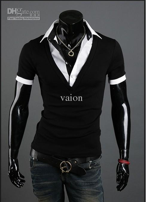 New False Two Piece Show Body Mens Slim Fit Short Sleeves Shirts ...