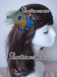 Wholesale Red Hair Wigs Pieces - red peacock feather wig headband Feather hair piece women's fashion hair accessory 6pcs lot