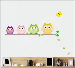 Animal Owl Wall Stickers Canada - New Arrive l10 piece lot Little Owl Wall Sticker Wall Stickers Kid Room Wall Decoration Christmas Gift