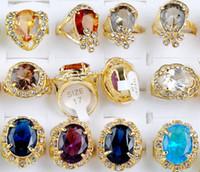 Wholesale Wholesale Simulated Diamond Jewelry - Brand New Jewelry Lots 15pcs Wedding Band Simulated Diamond Rings Gold Plated Ring Crystal CZ Ring [CZ06*15]