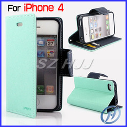Wholesale Iphone4 Case Flip - For iphone4 4G 4S Mercury Flip Leather Case Wallet Case with Credit Card Slot with Retail Package