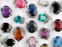 Wholesale Wholesale 25 Silver Rings - Jewelry Lots 25pcs Assorted Crystal CZ Rings Gemstone Silver Plated Rings Fashion Jewelry Woman's Wedding Rings [CZ07*25]