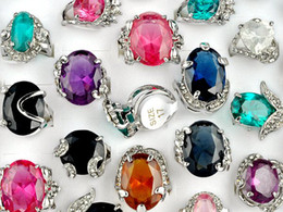 Wholesale Cz Jewelry Wholesale China - TOP Quality Crystal Jewelry Mix Lot 20pcs Silver P CZ Rings Fashion Women's Lady's Rings Charm Jewelry [CZ07*20]