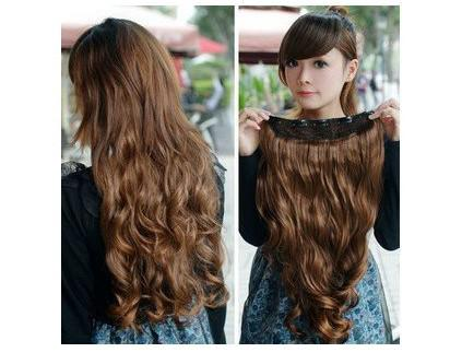 best selling One Piece New Long Synthetic Curly Wave Clip In Hair Extensions Styling Stylish Queens Fashion Hairp