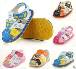 Wholesale Track Baby Girl - Hot Sale free shipping with tracking number boy girl PU Summer ANTISKID SHOE Baby First Walker Shoes 607