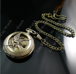 Wholesale Arrow Fobs - Handmade Elegant Vintage Style Bird Arrow Skeleton Mechanical Fob Chain Watches Men Bronze Copper Flower Hunter Swiss Technique Pocket Watch