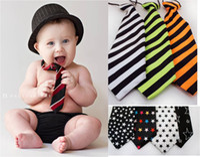 Wholesale Elastic Tie School - Children Baby Necktie Neck Ties Boys Girls Elastic Rubber Band Stripe School Tie More Color Kids Accessories Free Shipping 3 pcs