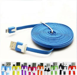 $enCountryForm.capitalKeyWord Canada - Dual Color 3M 10FT Flat Micro USB Cable Noodle Charger Cord Universal for Samsung S6 S5 S4 Note 5 4 Andriod cellphone 50pcs lot