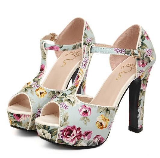 Sandals Sexy Women Romantic Flower Floral T-Strappy High Stiletto Heels Sandal 2 Colors