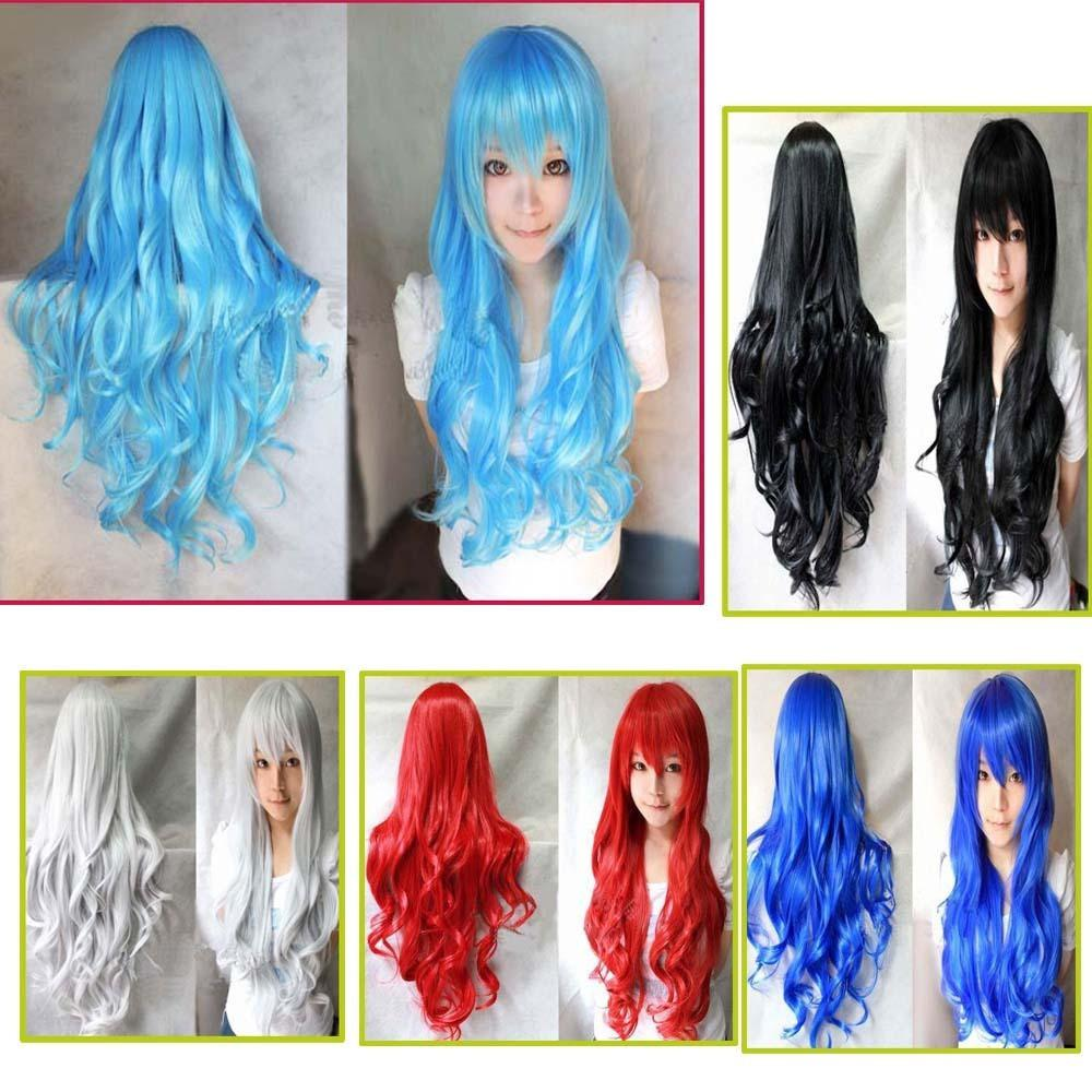 New Cosplay Colorful Cosplay Women Girls Long Curly Full
