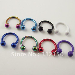 Wholesale Navel Stud Free Shipping - 100pcs Free Shipping Belly Ring 16G Ball Circulars Horseshoes Eyebrow Rings Navel body piercing jewelry Navel Ring
