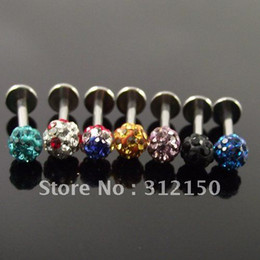 Wholesale Stainless Steel Lip Piercing - 24PCS Fashion Lip Ring Labret Ring body Jewelry Crystal Labret Piercing Jewelry FULL Crystal Gems Wholesale