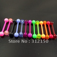 Wholesale Nail Rings Jewellery - 100 lot free shipping 14G flexible tongue barbell ring tongue Rings nail, body jewelry piercing jewellery fashion jewelry